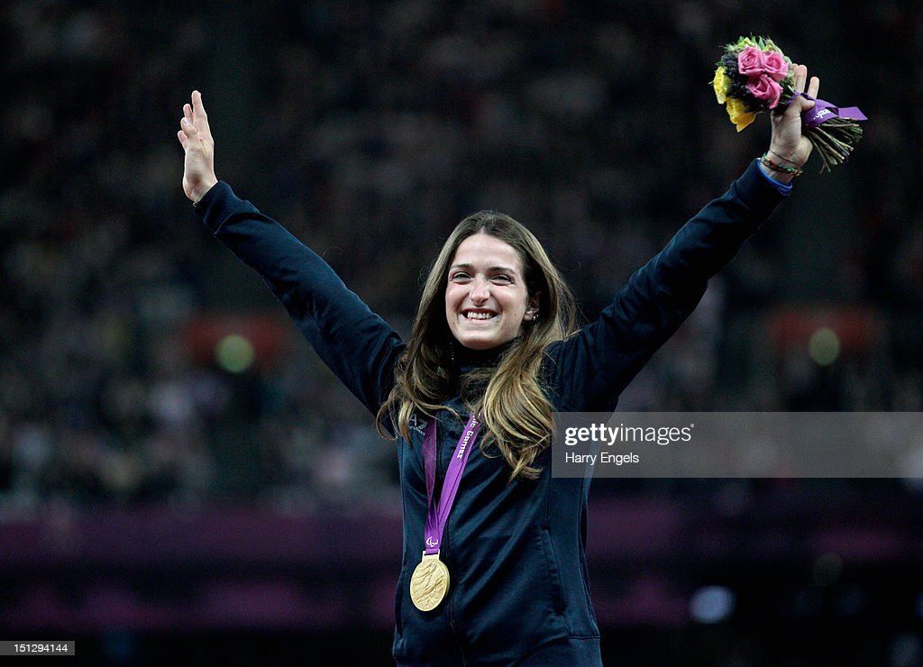 Gold medallist Martina Caironi of Italy poses on the podium during the medal ceremony for the Women's 100m T42 Final on day 7 of the London 2012 Paralympic Games at Olympic Stadium on September 5, 2012 in London, England.