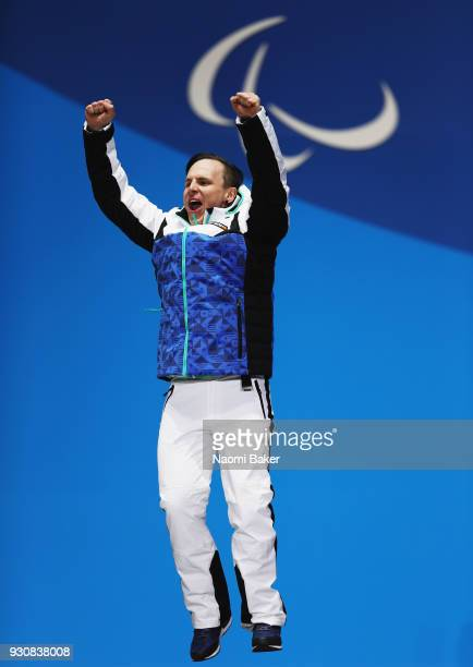 Gold medallist Matti SuurHamari of Finland celebrates in the Men's Snowboard Cross SBLL2 Medal Ceremony during day three of the PyeongChang 2018...