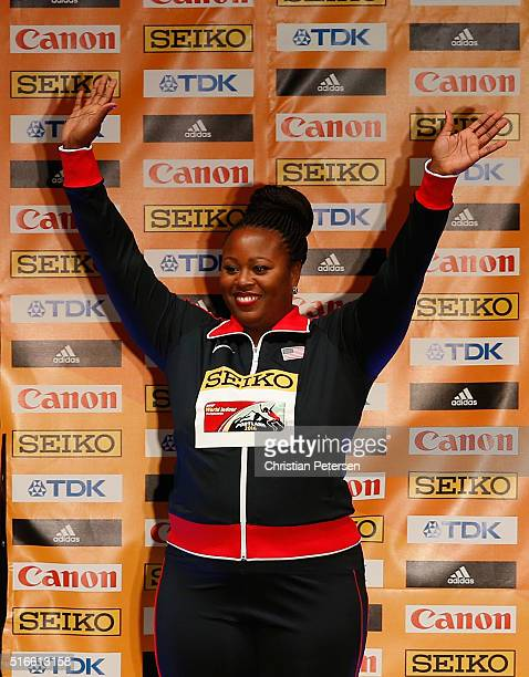 Gold medallist Michelle Carter of the United States poses on the podium during the medal ceremony for the Women's Shot Put during day three of the...