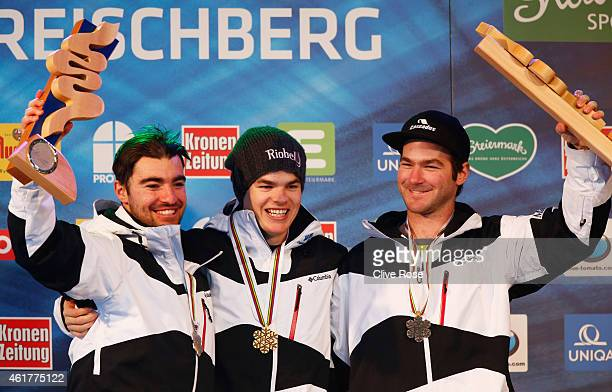Gold medallist Mikael Kingsbury of Canada poses with silver medallist Philippe Marquis of Canada and bronze medallist MarcAntoine Gagnon of Canada...