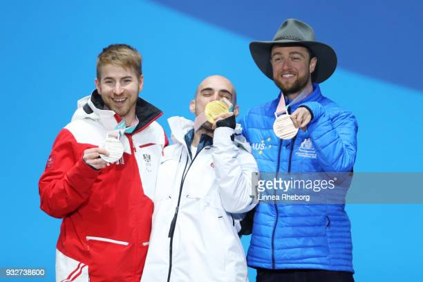 Gold medallist Mike Minor of USA Silver medallist Patrick Mayrhofer of Austria and Bronze medallist Simon Patmore of Australia celebrate during the...