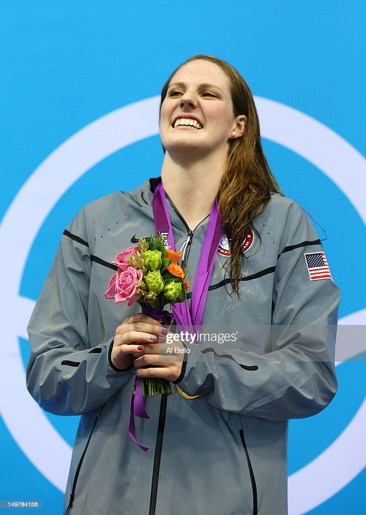 Gold medallist Missy Franklin of the United States poses on the podium during the medal ceremony for the Women's 200m Backstroke Final on Day 7 of the London 2012 Olympic Games at the Aquatics Centre on August 3, 2012 in London, England.