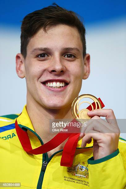 Gold medallist Mitch Larkin of Australia poses during the medal ceremony for the Men's 200m Backstroke Final at Tollcross International Swimming...