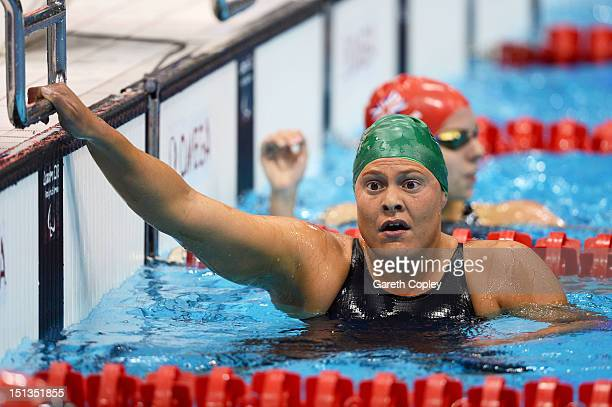 Gold medallist Natalie du Toit of South Africa reacts after competing in the Women's 200m Individual Medley SM9 final on day 8 of the London 2012...