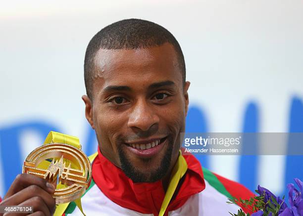 Gold medallist Nelson Évora on the podium during the medal ceremony for Men's Triple Jump during day three of the 2015 European Athletics Indoor...