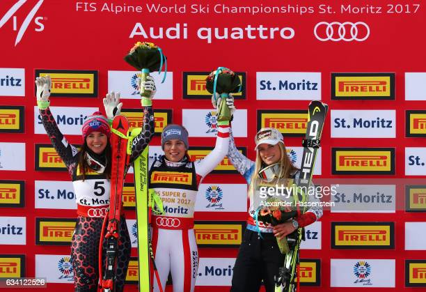 Gold medallist Nicole Schmidhofer of Austria poses with silver medallist Tina Weirather of Liechtenstein and bronze medallist Lara Gut of Switzerland...