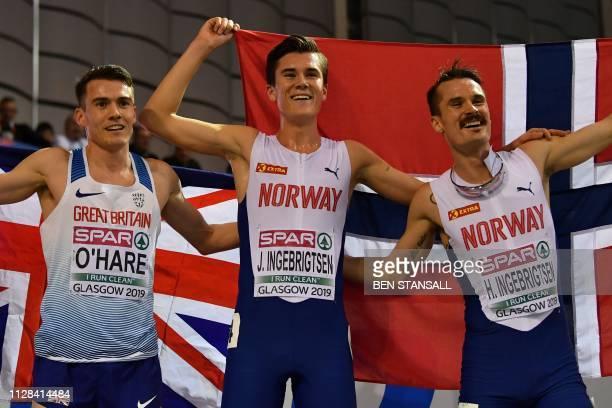 Gold medallist Norway's Jakob Ingebrigtsen silver medallist Great Britain's Chris O'Hare and bronze medallist Norway's Henrik Borkja Ingebrigtsen...