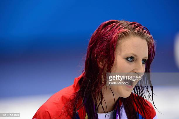 Gold medallist of Great Britain poses on the podium during the medal ceremony for the Women's 200m Freestyle - S14 final on day 4 of the London 2012...