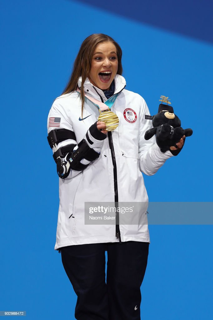 Gold Medallist Oksana Masters of the United States celebrates at the medal ceremony for the Cross Country Women's 5km - Sitting on day eight of the PyeongChang 2018 Paralympic Games on March 17, 2018 in Pyeongchang-gun, South Korea.