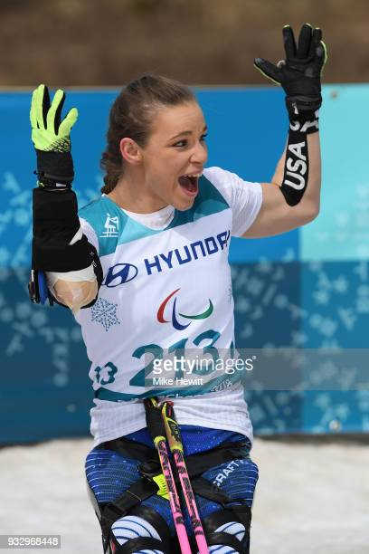 Gold medallist Oksana Masters of USA celebrates during the ceremony for the Women's Cross Country Skiing 5km Sitting on day eight of the PyeongChang...