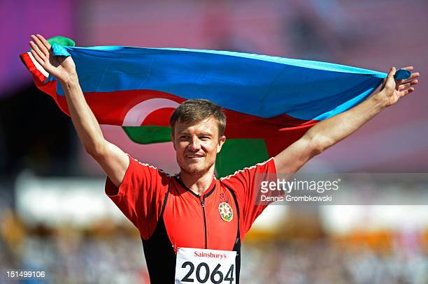 Gold Medallist Oleg Panyutin of Azerbaijan celebrates following the Men's Triple Jump F12 final on day 10 of the London 2012 Paralympic Games at...