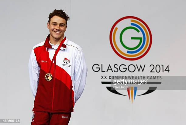 Gold medallist Oliver Hynd of England poses during the medal ceremony for the Men's 200m Individual Medley SM8 Final at Tollcross International...