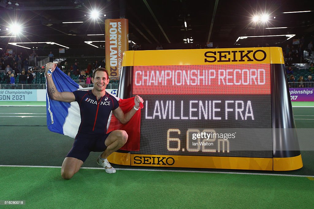 Gold medallist Renaud Lavillenie of France celebrates after setting a new championship record in the Men's Pole Vault Final during day one of the IAAF World Indoor Championships at Oregon Convention Center on March 17, 2016 in Portland, Oregon.