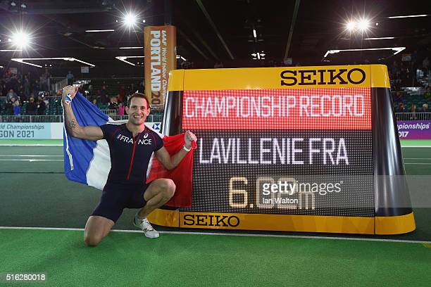 Gold medallist Renaud Lavillenie of France celebrates after setting a new championship record in the Men's Pole Vault Final during day one of the...
