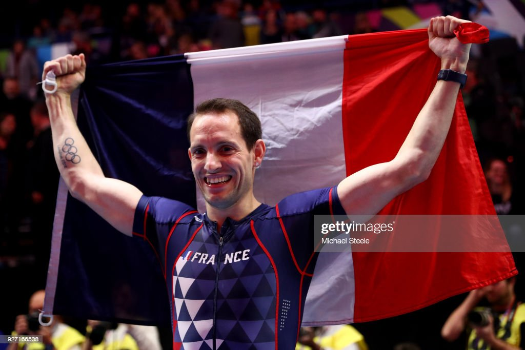Gold Medallist, Renaud Lavillenie of France celebrates winning the Men's Pole Vault Final during the IAAF World Indoor Championships on Day Four at Arena Birmingham on March 4, 2018 in Birmingham, England.