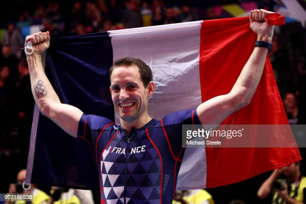Gold Medallist Renaud Lavillenie of France celebrates winning the Men's Pole Vault Final during the IAAF World Indoor Championships on Day Four at...