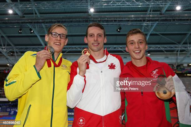 Gold medallist Ryan Cochrane of Canada poses with silver medallist Mack Horton of Australia and bronze medallist Daniel Jervis of Wales after the...