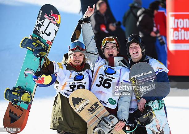 Gold medallist Ryan Stassel of USA celebrates with silver medallist Roope Tonteri of Finland and bronze medallist Kyle Mack of USA during the Men's...