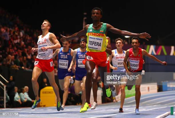 Gold Medallist, Samuel Tefera of Ethopia celebrates winning the Men's 1500 Metres Final during the IAAF World Indoor Championships on Day Four at...