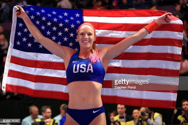 Gold Medallist Sandi Morris of United States celebrates winning the Pole Vault Womens Final during the IAAF World Indoor Championships on Day Three...