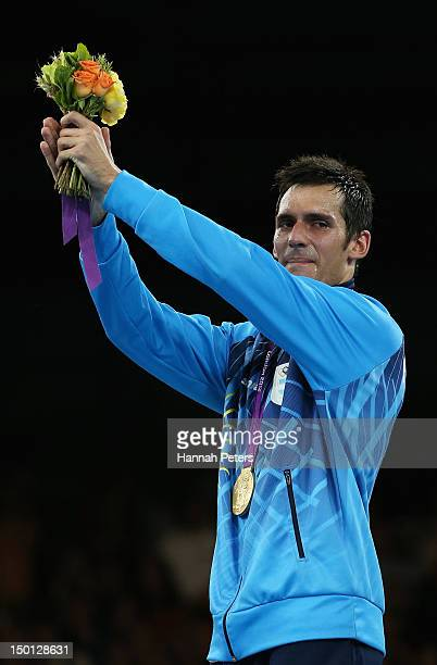 Gold medallist Sebastian Eduardo Crismanich of Argentina celebrates during the medal ceremony in the Men's 80kg Taekwondo on Day 14 of the London...