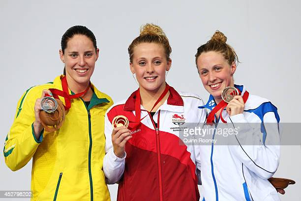 Gold medallist Siobhan O'Connor of England poses with silver medallist Alicia Coutts of Australia and bronze medallist Hannah Miley of Scotland...