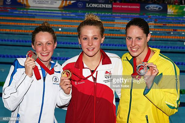 Gold medallist Siobhan O'Connor of England poses with silver medallist Alicia Coutts of Australia and bronze medallist Hannah Miley of Scotland after...