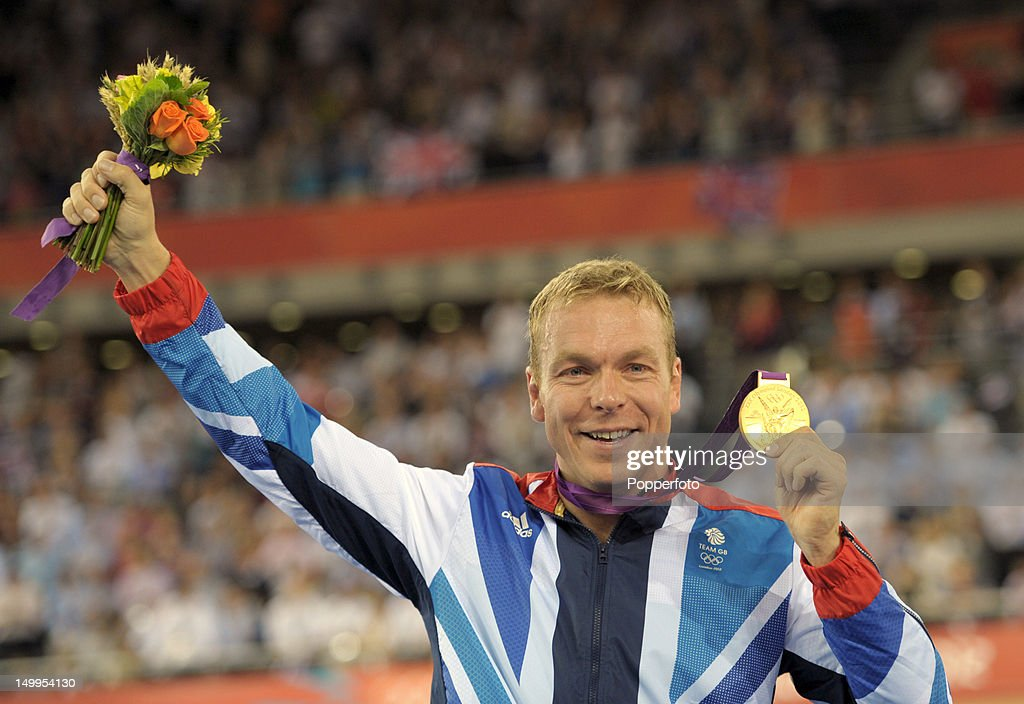 Gold medallist Sir Chris Hoy of Great Britain celebrates during the medal ceremony for the Men's Keirin Track Cycling Final on Day 11 of the London 2012 Olympic Games at Velodrome on August 7, 2012 in London, England.