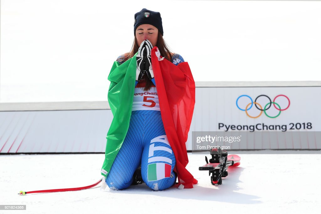 Gold medallist Sofia Goggia of Italy celebrates during the victory ceremony for the Ladies' Downhill on day 12 of the PyeongChang 2018 Winter Olympic Games at Jeongseon Alpine Centre on February 21, 2018 in Pyeongchang-gun, South Korea.