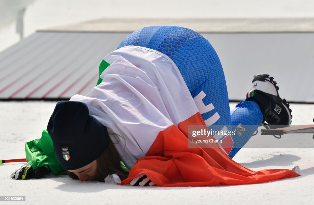 Gold medallist Sofia Goggia of Italy celebrates during the victory ceremony for the Ladies' Downhill on day 12 of the PyeongChang 2018 Winter Olympic Games at Jeongseon Alpine Centre February 21, 2018