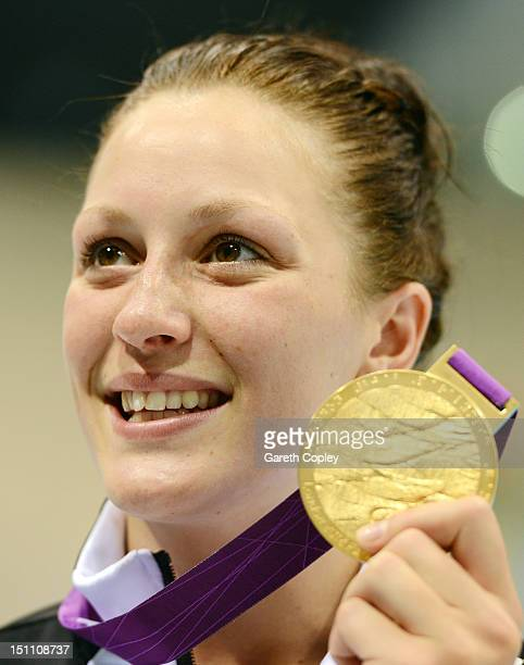 Gold medallist Sophie Pascoe of New Zealand poses following the medal ceremony for the Women's 100m Butterfly S10 Finalon day 3 of the London 2012...