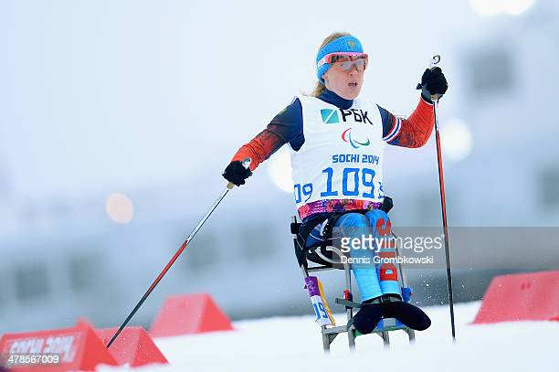 Gold medallist Svetlana Konovalova of Russia competes in the Women's 125km sitting biathlon during day seven of the Sochi 2014 Paralympic Winter...