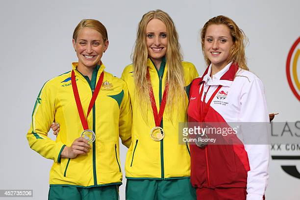 Gold medallist Taylor McKeown of Australia poses with silver medallist Sally Hunter of Australia and bronze medallist Molly Renshaw of England during...
