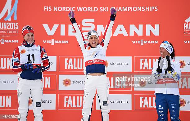 Gold medallist Therese Johaug of Norway celebrates with silver medallist Astrid Uhrenholdt Jacobsen of Norway and bronze medallist Charlotte Kalla of...