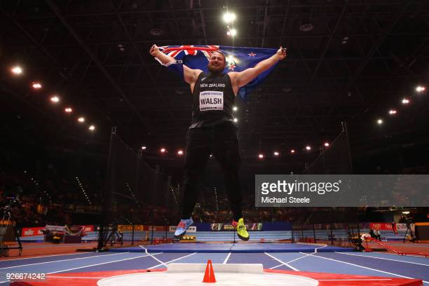 Gold Medallist, Tomas Walsh of New Zealand celebrates winning the Shot Put Mens Final during the IAAF World Indoor Championships on Day Three at...