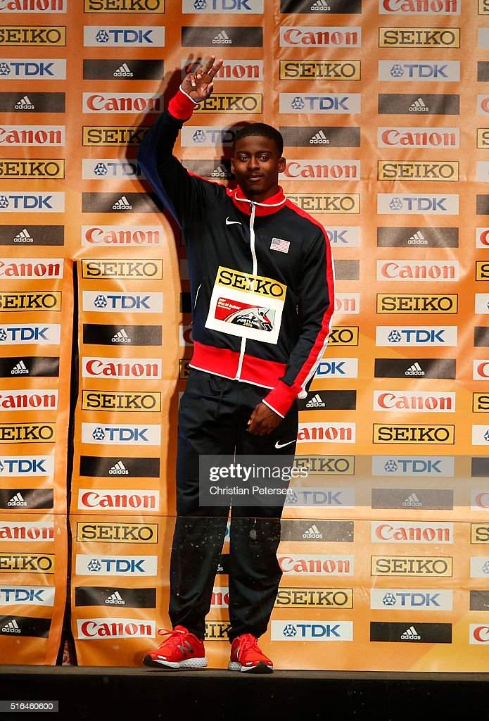 Gold medallist Trayvon Bromell of the United States poses on the podium during the medal ceremony for the Men's 60 metres during day two of the IAAF World Indoor Championships at Pioneer Courthouse Square on March 18, 2016 in Portland, Oregon.