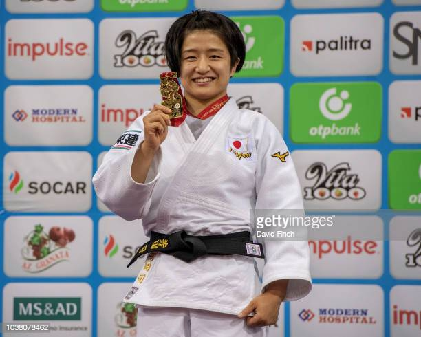Gold medallist Tsukasa Yoshida of Japan proudly shows her u57kg gold medal during day three of the 2018 Judo World Championships at the National...