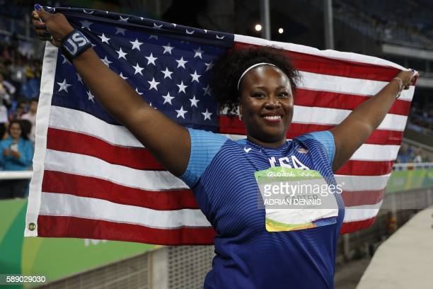 Gold medallist USA's Michelle Carter celebrates winning the Women's Shot Put Final during the athletics event at the Rio 2016 Olympic Games at the...