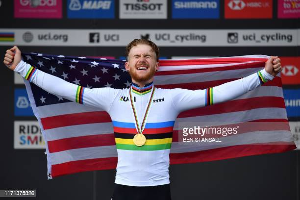 TOPSHOT Gold medallist USA's Quinn Simmons reacts after winning the Men Junior Road Race at the 2019 UCI Road World Championships Richmond to...