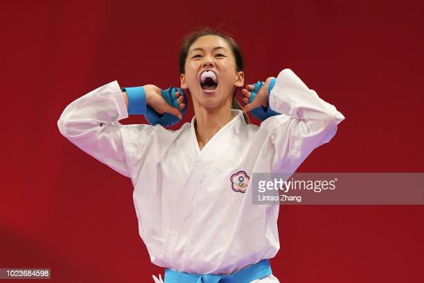 Gold medallist Wen Tzuyun of Taiwan celebrates after win women's -55kg category karate event at the JCC Plenary Hall on day eight of the Asian Games...