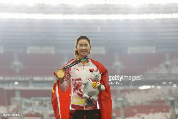 Gold medallist Yang Jiayu of China during Athletics WomenÕs 20km Race Walk medal ceremony at GBK Main Stadium on day eleven of the Asian Games on...