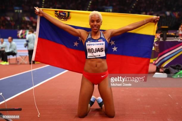 Gold Medallist Yulimar Rojas of Venezuela celebrates after winning the Triple Jump Womens Final during the IAAF World Indoor Championships on Day...