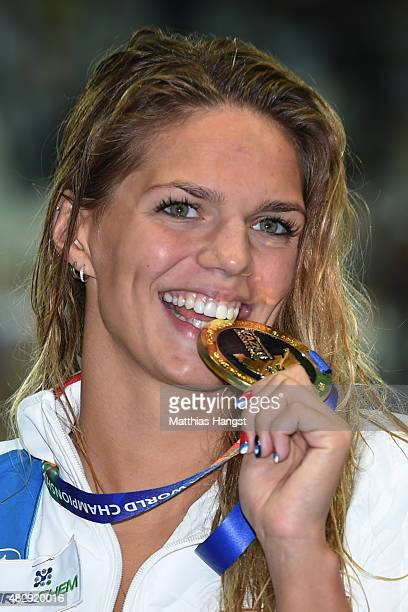 Gold medallist Yuliya Efimova of Russia poses during the medal ceremony for the Women's 100m Breaststroke Final on day eleven of the 16th FINA World...
