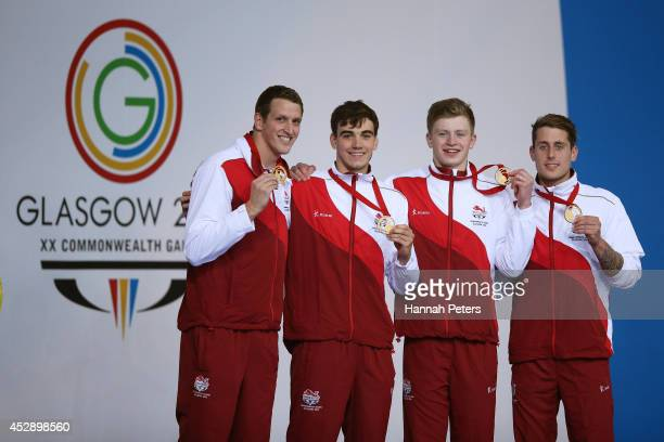 Gold medallists Adam Brown Adam Barrett Adam Peaty and Chris WalkerHebborn of England pose during the medal ceremony for the Men's 4 x 100m Medley...