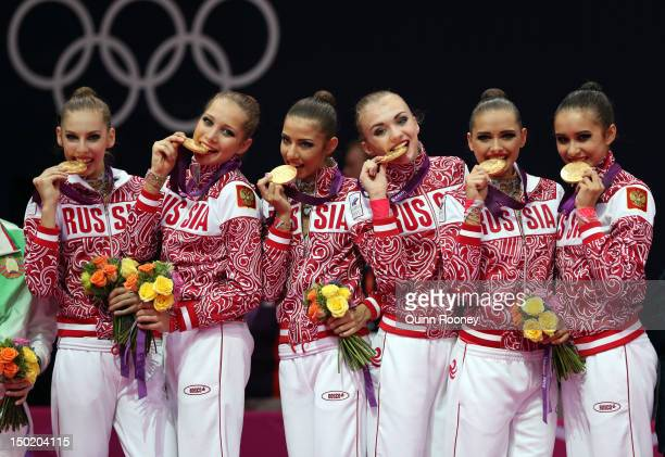 Gold medallists Anastasia Bliznyuk Uliana Donskova Ksenia Dudkina Karolina Sevastyanova Anastasia Nazarenko and Alina Makarenko of Russia celebrate...