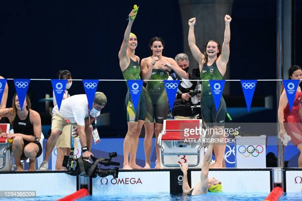 Gold medallists Australia's Emma McKeon, Australia's Kaylee McKeown, Australia's Chelsea Hodges and Australia's Cate Campbell celebrate after the...