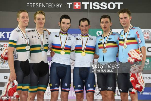 Gold medallists Benjamin Thomas and Morgan Kneisky of France pose with silver medallists Cameron Meyer and Callum Scotson of Australia and bronze...