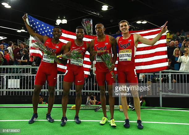Gold medallists Calvin Smith Kyle Clemons Vernon Norwood and Christopher Giestin of the United States celebrate after the Men's 4x400 Metres Relay...