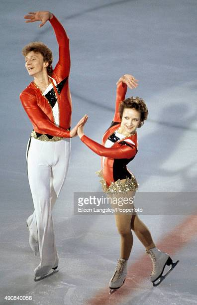 Gold medallists Elena Valova and Oleg Vasiliev of the Soviet Union in the pair's figure skating event during the European Figure Skating Chapionships...
