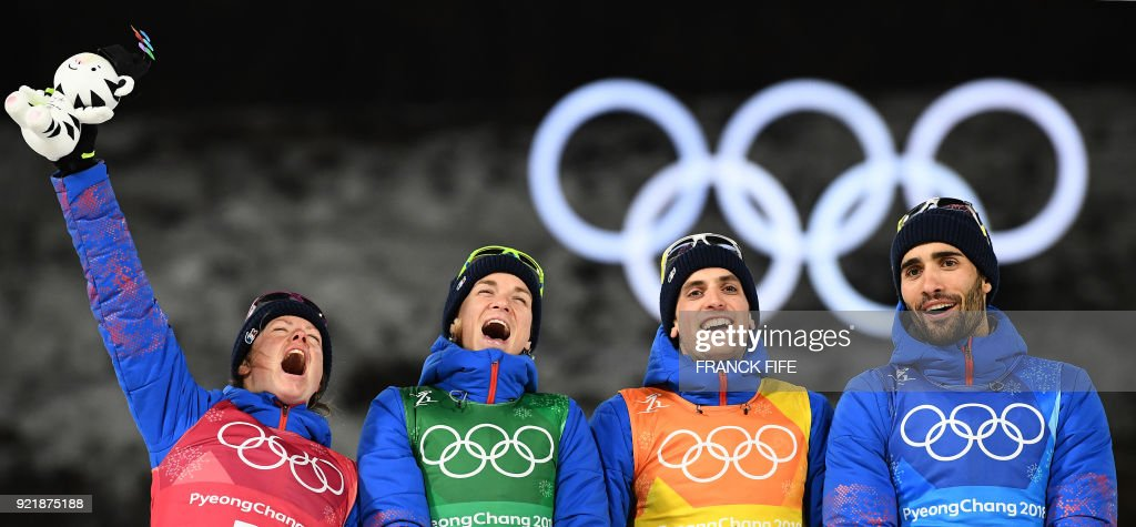 BIATHLON-OLY-2018-PYEONGCHANG-PODIUM : News Photo